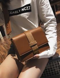 Fashion Brown Square Shape Design Pure Color Shoulder Bag