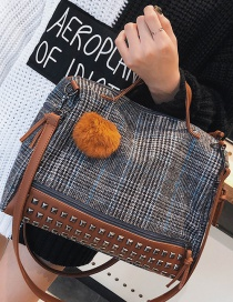 Fashion Gray Fuzzy Ball Decorated Grid Design Bag
