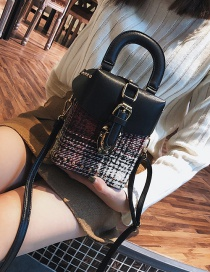 Fashion Claret Red Grid Pattern Decorated Shoulder Bag