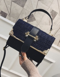 Fashion Navy Button Decorated Shoulder Bag