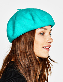 Fashion Blue Pure Color Decorated Berets