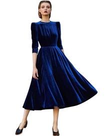 Fashion Sapphire Blue Pure Color Decorated Dress