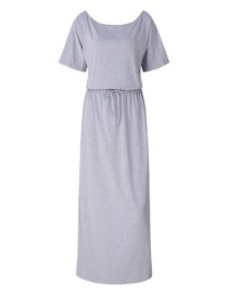 Fashion Gray Pure Color Decorated Dress