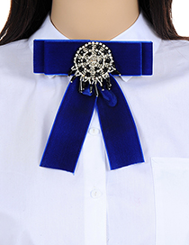 Fashion Sapphire Blue Bead Decorated Bowknot Brooch