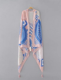 Elegant Pink+blue Geometric Shape Pattern Decorated Scarf