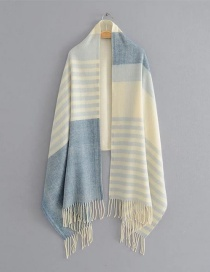 Fashion Blue Color-matching Decorated Scarf