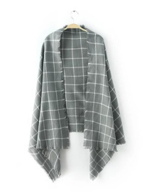 Fashion Gray Square Shape Decorated Scarf