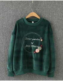 Fashion Green Embroidery Letter Decorated Round Neckline Sweater