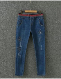 Fashion Blue Stars Pattern Decorated Simple Jeans