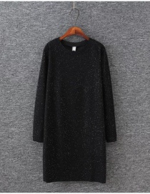 Fashion Black Pure Color Decorated Simple Dress