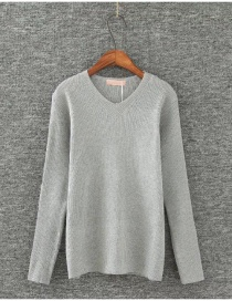 Fashion Light Gray V Neckline Design Pure Color Blouse