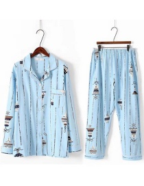 Fashion Blue Lamps Pattern Decorated Simple Pajamas