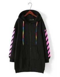 Fashion Black Stripe Pattern Decorated Thicken Hoodie