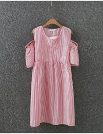 Fashion Pink Stripe Pattern Decorated Round Neckline Dress