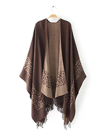 Fashion Brown Tassel Pendant Decorated Simple Scarf