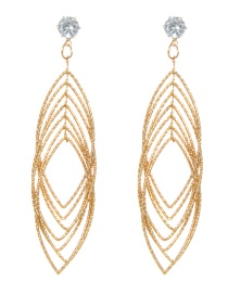 Fashion Gold Color Pure Color Decorated Multi-layer Earrings