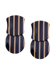 Fashion Black+yellow Stripe Pattern Decorated Earrings