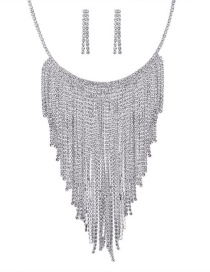 Fashion Silver Color Full Diamond Decorated Tassel Jewelry Sets