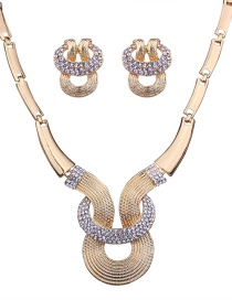 Fashion Gold Color Diamond Decorated Geometric Shape Jewelry Sets