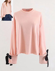 Fashion Pink Bowknot Decorated Long Sleeves Blouse