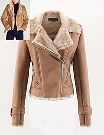 Fashion Khaki Pure Color Decorated Simple Jacket
