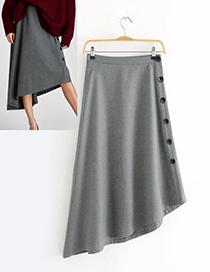 Fashion Gray Buttons Decorated Pure Color Asymmetric Skirt