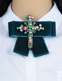 Trendy Navy Cross Shape Decorated Bowknot Brooch