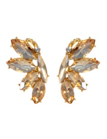 Fashion Champagne Oval Shape Diamond Decorated Earrings