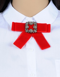 Fashion Red Diamond Decorated Bowknot Brooch