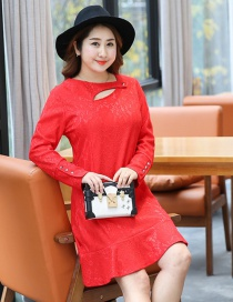 Fashion Red Pure Color Decorated Long Sleeves Dress