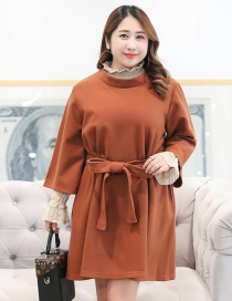 Fashion Dark Coffee Bowknot Decorated Long Sleeves Dress(2pcs)