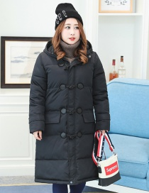 Fashion Black Pure Color Decorated Cotton-padded Coats