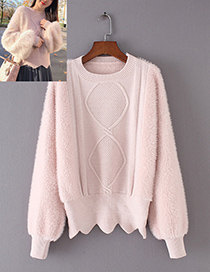 Trendy Pink Pure Color Design Round Neckline Sweater
