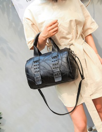 Fashion Black Rivet Pattern Decorated Pure Color Shoulder Bag