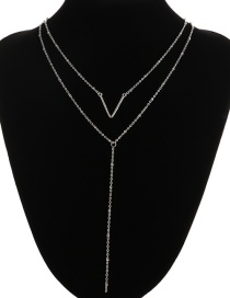 Fashion Silver Color V Shape Decorated Double-layer Necklace