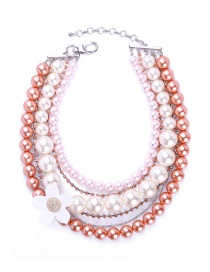 Elegant Champagne+white Flower Shape Decorated Multilayer Necklace