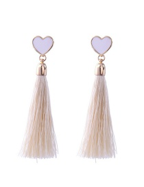 Bohemia White Heart Shape Decorated Tassel Earrings