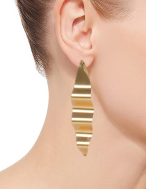 Fashion Gold Color Wave Shape Design Pure Color Earrings