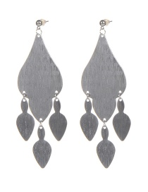 Fashion Silver Color Geometric Shape Design Pure Color Earrings