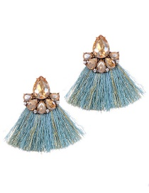 Fashion Blue+champagne Diamond Decorated Tassel Earrings