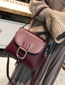 Fashion Claret Red Pure Color Decorated Simple Shoulder Bag