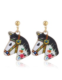 Fashion Multi-color Horse Shape Decorated Earrings