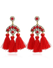 Bohemia Red Hollow Out Decorated Tassel Earrings