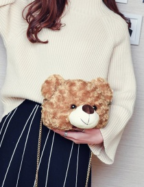 Lovely Light Brown Bear Shape Decorated Bag