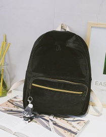 Fashion Black Character Pendant Decorated Backpack