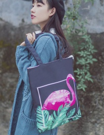 Lovely Black Flamingo Pattern Decorated Bag