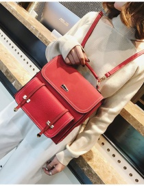 Vintage Red Pure Color Decorated Bag