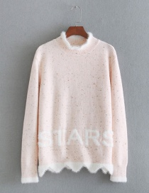 Lovely Light Pink Letter Shape Decorated Sweater