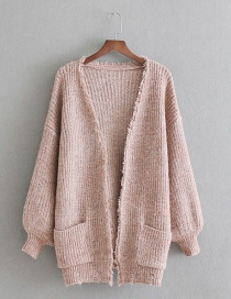 Fashion Pink Pure Color Decorated Knitting Cardigan