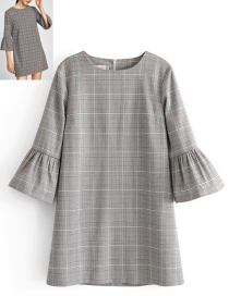 Elegant Gray Square Shape Decorated Dress